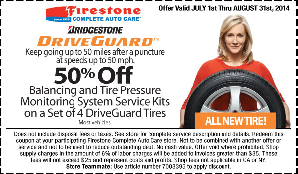 Firestone Balancing and TPMS Kits discount August 2014