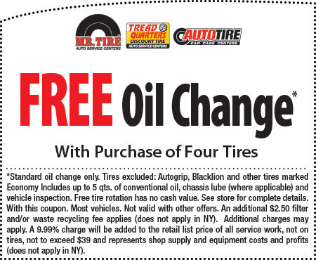 Mr Tire FREE Oil Changes coupon July 2014