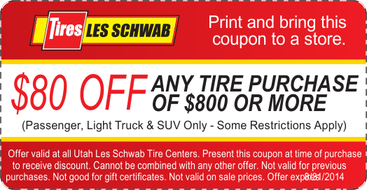 Les Schwab $80 OFF any Tires coupon August 2014