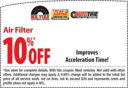 Mr Tire 10% OFF air filter coupon August 2014