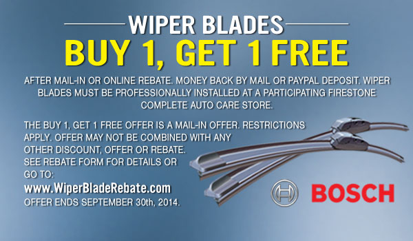 Firestone 50% OFF Wiper blade coupon September 2014