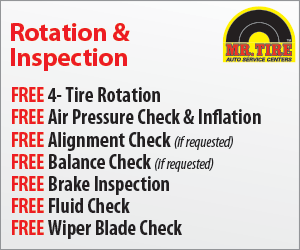 Mr Tire FREE rotation and alignment check coupon November 2014
