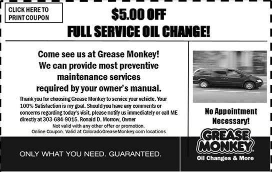 Grease Monkey $5 OFF oil change coupon november 2014