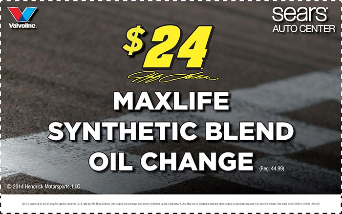 Sears MaxLife synthetic blend oil change $24 coupon November 2014