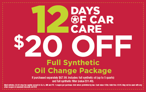 Sears full synthetic oil change coupon $20 OFF December 2014