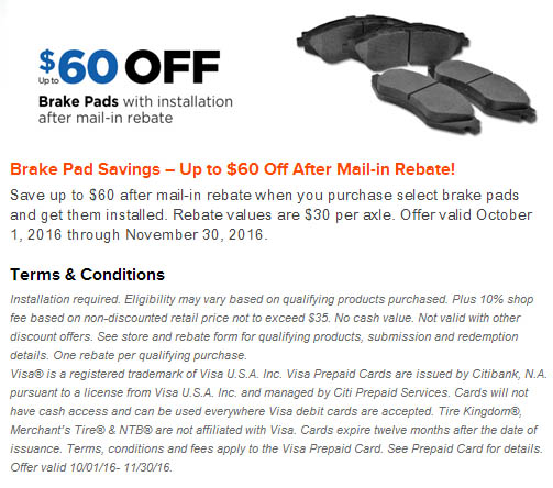 NTB up to $60 Brake pads or shoes mail-in rebate November 2016