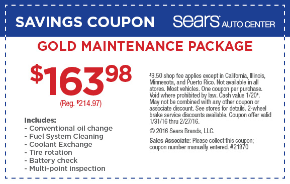 Sears gold Maintenance package coupons February 2016
