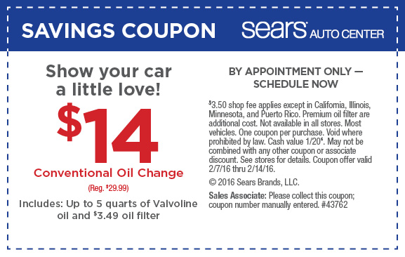 Sears $14.00 conventional oil change printable coupon February 2016