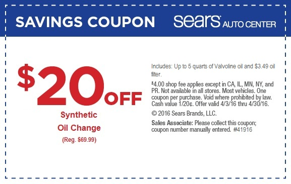 Sears $49.99 synthetic oil change April 2016