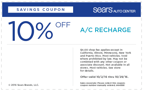 Sears 10% OFF A/C recharge coupon October 2016