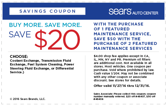 Sears up to $20 OFF service coupon December 2016